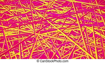 Abstract moving pieces in yellow and pink colors