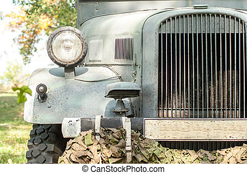 vintage military truck - Gray and olive vintage military...