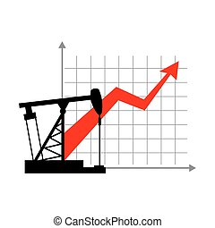 Graphic growth  and oil rig. Oil quotations grow up. info graphic Oil production. Red arrow price increase of petroleum products on market. Business illustration.Oil pump Schedule for presentation.
