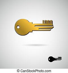 Key to apartment logo. Symbol for construction and real estate company. Golden Apartment key.