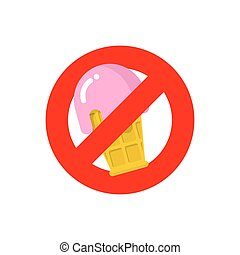 Stop ice cream. Red forbidding sign for sweet dessert with strawberry taste. Ban cold dairy delicacy. Forbidden to eat sweets