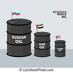 World oil reserves in world. Barrel oil. Elements for...