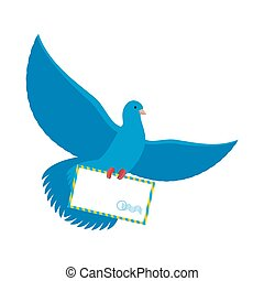 Postal pigeon. Blue Dove with envelope. Blue Bird postman...