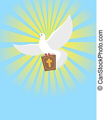 Dove and Bible. Holy Bible in its paws White pigeon. Background of divine light. Big book of God. White Dove symbol of human soul