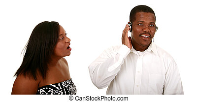 African American Couple Can\'t Communicate - african...