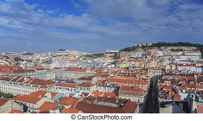 Lisbon cityscape view with clouds at sunny day