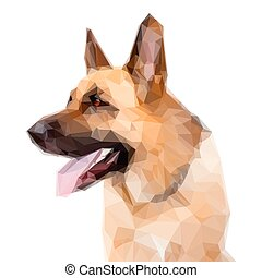German Shepard Dog - Geometric German Shepard Dog Portrait...