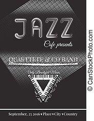 Vector jazz or blues music poster template.