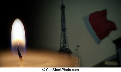 Shot of French flag and candle memorial background -...