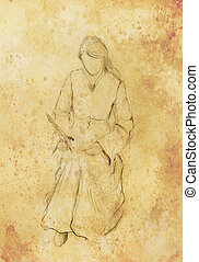 Sketch of woman in historical dress, writing quill pen Old...