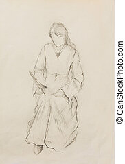 Sketch of woman in historical dress, writing quill pen -...