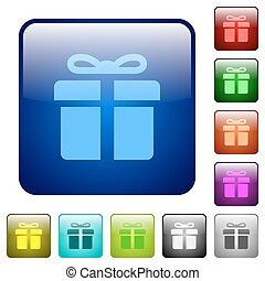 Color gift square buttons - Set of gift color glass rounded...