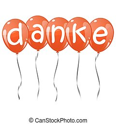 flying balloons with text DANKE - five flying balloons red...