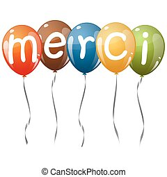 flying balloons with text MERCI - five flying balloons multi...