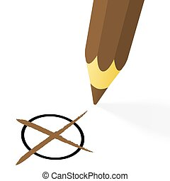 brown pencil with cross