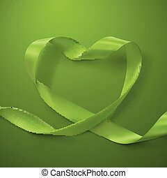 Green Ribbon Heart. Looping Ribbon. Valentines Day Or...