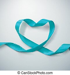 Azure Ribbon Heart Vector Illustration Of Looping Ribbon...