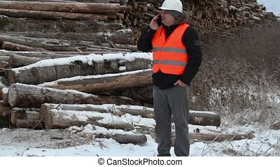 Engineer talking on the smartphone near to piles of logs