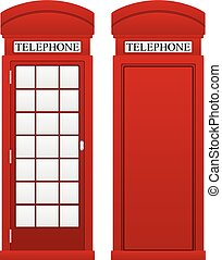 Telephone box on a white background.