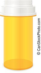 Pill bottle on a white background.