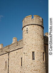 Turret - Detail of turret of Tower of London against clear...