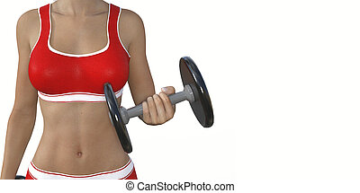 Woman Lifting Weights as a Fitness Concept Art