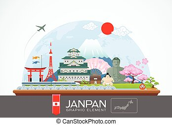 janpan infographic travel place and landmarkVector...