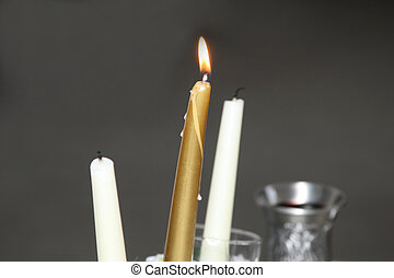 burning wedding candle at the ceremony