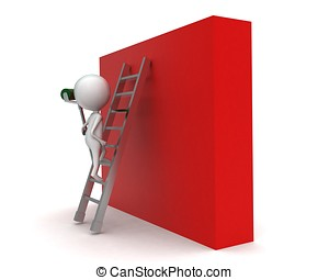 3d man climbing up using ladder holding painting roller...