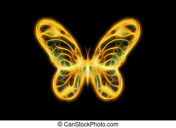 light yellow and tirkys color butterfly on black bckground -...