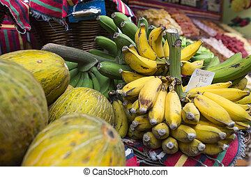 Fresh exotic fruits in Mercado Dos Lavradores Funchal,...