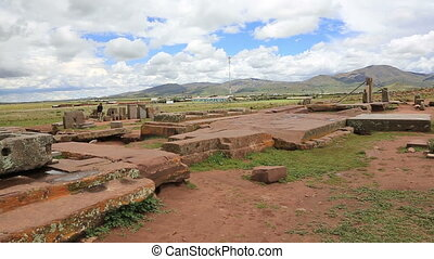 Panoramic view of Puma Punku - Panoramic view of megalithic...