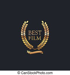 Best Film Award Sign. Golden Award Wreath With Ribbon....