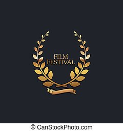 Film Festival Award Sign Golden Award Wreath With Ribbon...