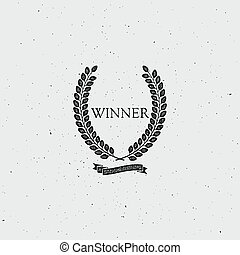 Winner Award Sign. Award Laurel Wreath With Ribbon. Vector...