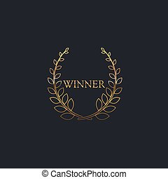 Golden Winner Award Sign Award Laurel Wreath With Ribbon...