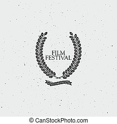 Film Festival Award Sign Vintage Award Wreath With Ribbon...