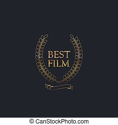 Best Film Award Sign Golden Award Wreath With Ribbon Vector...