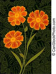 Three orange flowers - Three flowers on background of leaves