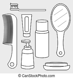 vector of toiletry set, personal care product