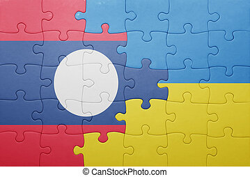 puzzle with the national flag of ukraine and laos