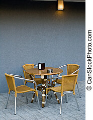 Cafe - There is a cafe with table and seats