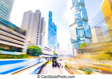 Hong, Kong., abstratos, Cityscape, tráfego, com, em...