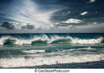 Stormy ocean landscape with rainy clouds - Stormy ocean...