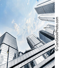 Futuristic cityscape with skyscrapers. Hong Kong - Abstract...