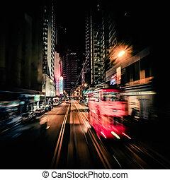 vermelho, BONDE, em, modernos, cidade, RUA., movimento,...