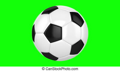 Soccer Ball On A Green Background - Soccer ball rotates on...
