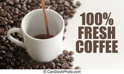 "Shot of 100 precent fresh coffee sign - ""100%, advertise,..."