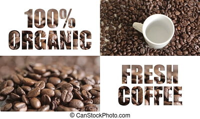 "Shot of split screen organic coffee - ""100%, advertise,..."