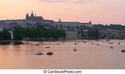 """prague view at sunset, czech republic, 4k"""